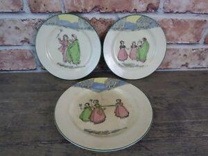 Rare-Early-20th-Century-Royal-Doulton-Seriesware-Springtime-Plates