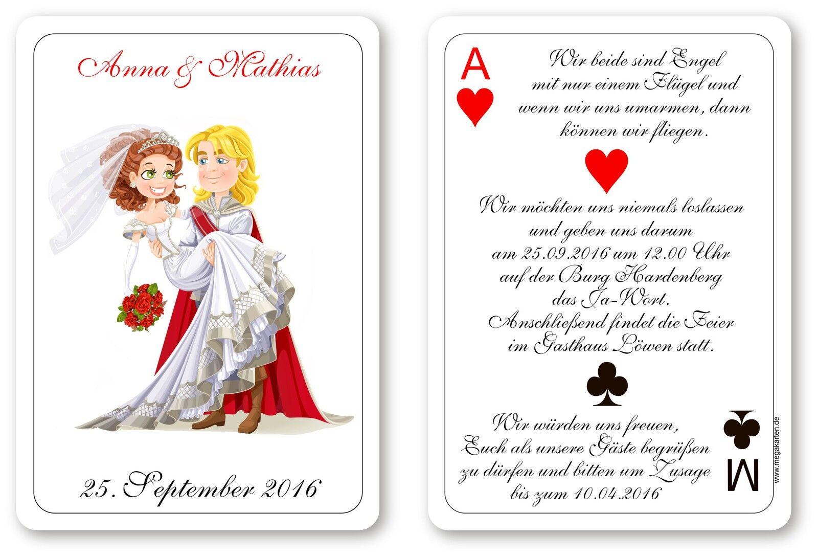Einladungskarten Hochzeit als Spielkarte     Kunde zuerst    Rabatt