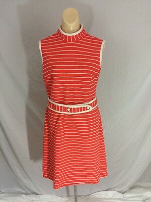 Mod 60s White and Red Sleeveless Poly Dress with belt