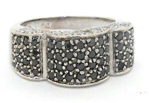 18K white gold 1.46CTW White & Black diamond cluster cocktail ring size 5