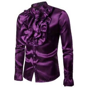 Men-Faux-Silk-Satin-Ruffle-Shirt-Tops-Long-Sleeve-Fancy-Clothes-Victorian-Retro