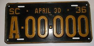 1936-South-Carolina-Sample-License-Plate-Original
