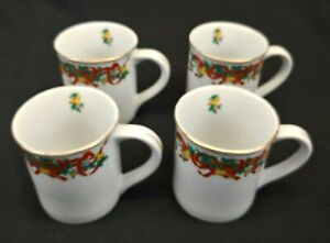 Home Accents Fine China Set of 4 Coffee Mugs Holiday Ribbon Christmas Gold Trim