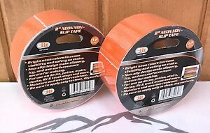 "2"" x 12' Rolls ~ Neon Orange Non-Skid Adhesive Tape ~ New ~ Free Shipping"
