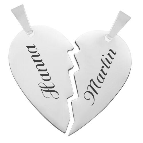 Partneranhänger 2-teilig aus Edelstahl mit Gravur geteiltes Herz poliert 3,30 cm