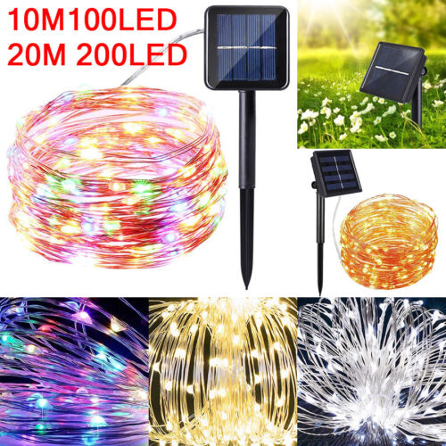 200 LED Solar String Lights Waterproof Copper Wire Fairy Outdoor Garden Decors
