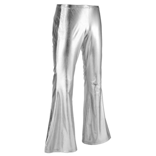 Men Metallic Disco Trousers Bell Bottom Long Pants Flared Fancy Dress Costumes