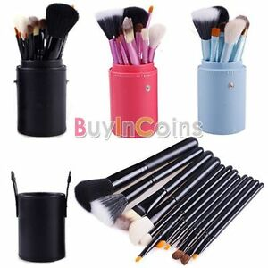 New-Colors-Pro-Cosmetic-Brush-Set-12-PCS-w-Leather-Cup-Holder-Case-HFUK