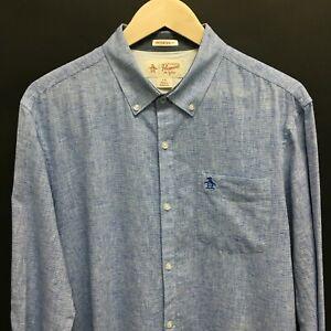 Mens-Large-PENGUIN-Linen-Cotton-Heritage-Slim-Fit-Shirt-Blue-SUPERB-16c