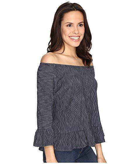 Sanctuary Cotton Off The Shoulder bluee Striped Julia Top S