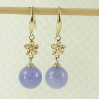 14k Solid Gold Hawaiian Plumeria; 8-8.5mm Bead Lavender Jade Hook Earrings Tpj