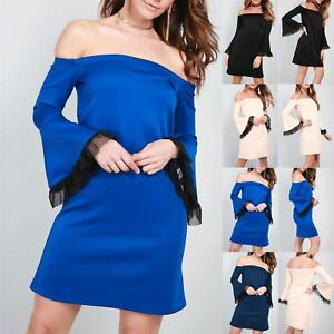 New-Womens-Bardot-Off-The-Shoulder-Ladies-Bell-Frill-Swing-Flared-Mini-Dresses