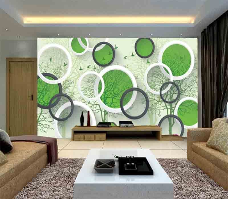 Kind Green Circle 3D Full Wall Mural Photo Wallpaper Printing Home Kids Decor