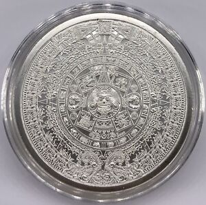 Silver-Aztec-Calendar-Stone-Eagle-Warrior-1-oz-999-Cuauhtemoc-BU-NEW-In-Capsule