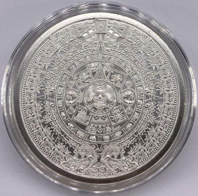 Silver Aztec Calendar Stone Eagle Warrior 1 oz .999 Cuauhtemoc BU NEW In Capsule