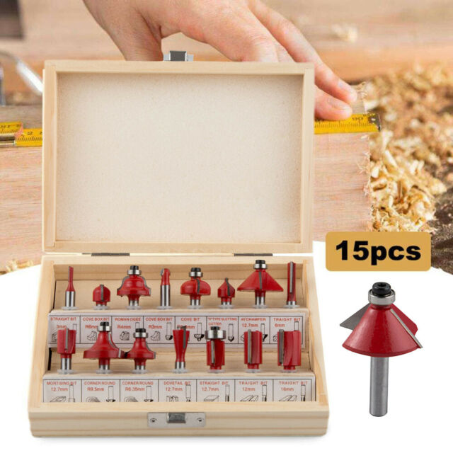 """15Pcs Milling Cutter Router Bits Set Tungsten Carbide Kit for Wood 1//4/"""" Shank"""