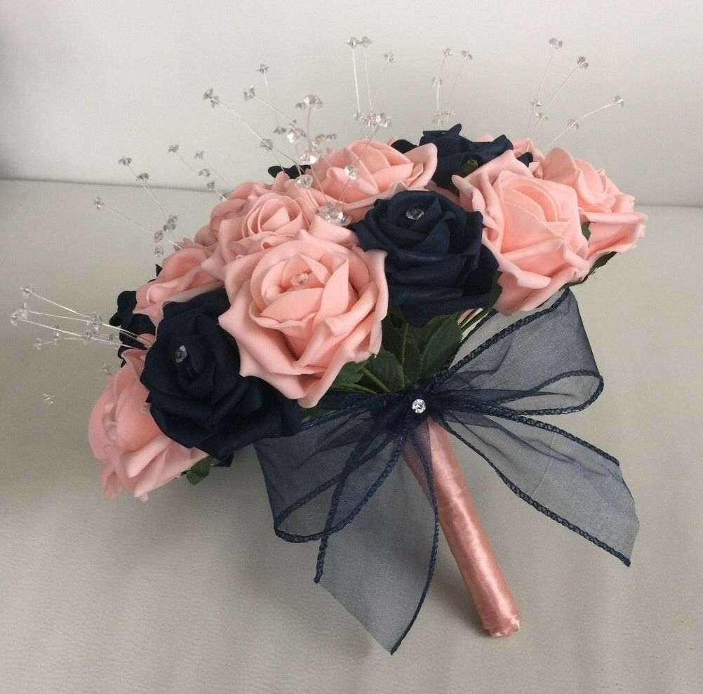 rosa Caldo Caldo Caldo Nozze Fiori Artificiali Bouquet Sposa Damigella D'onore Pulsante Fori Bacchetta 60c0f1