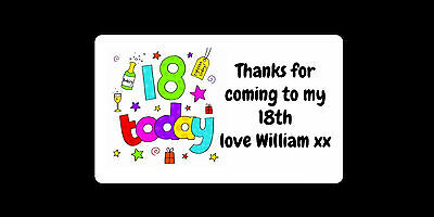 42 Personalised 18th Birthday Party Stickers Thank You Sweet Bags Cones Seal