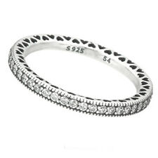 HEARTS Ring 925 Solid Sterling Silver Heart Pave Stacking Band Size 8.5 / 58