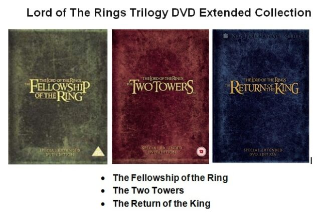 LORD OF THE RINGS 1-3 TRILOGY DVD EXTENDED EDITION VERSION MOVIE PART 1 2 3 FILM
