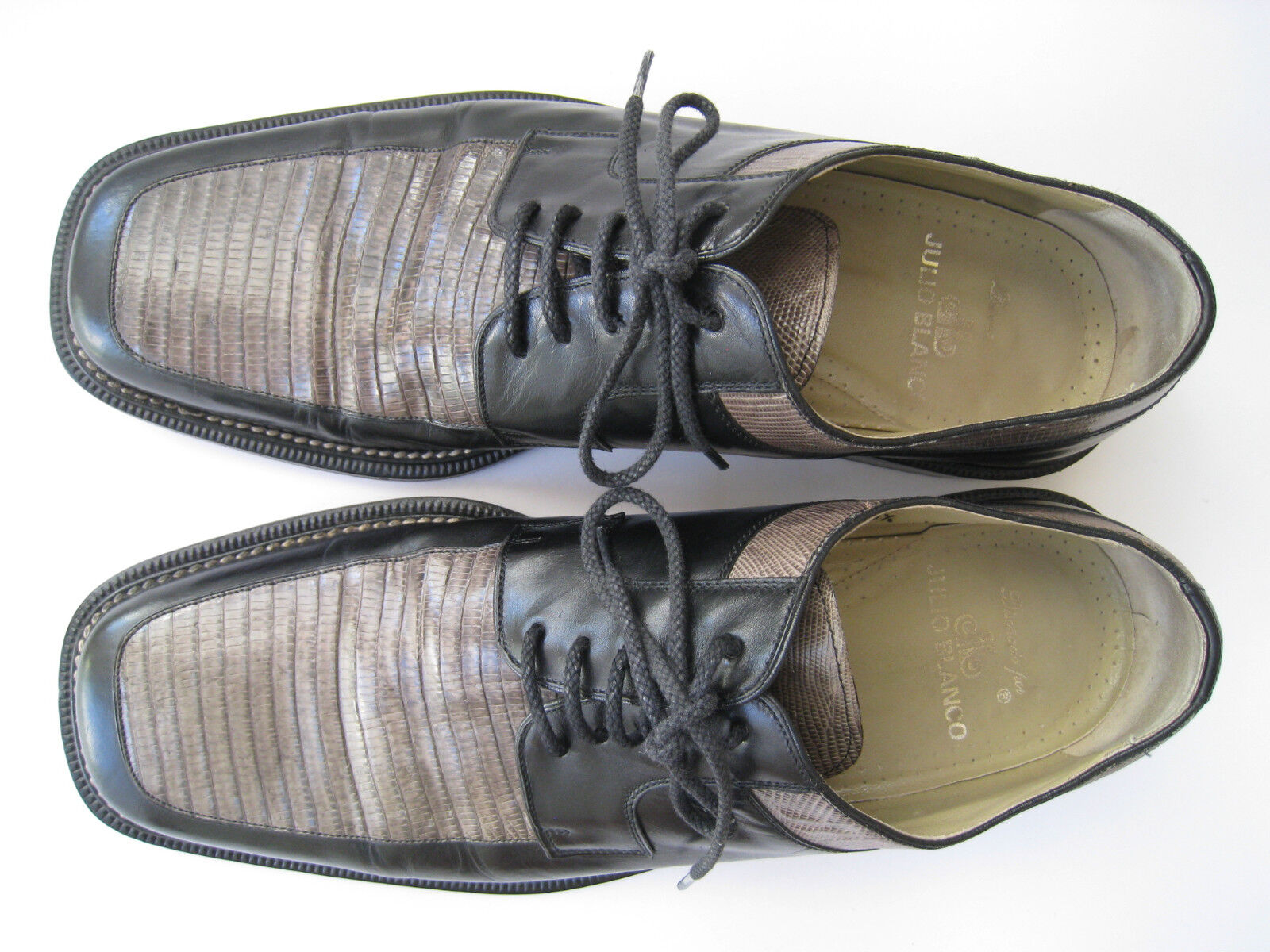 JULIO whiteO GENUINE LIZARD LEATHER HANDMADE OXFORDS US 10.5M  MADE IN SPAIN