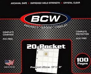 10-BCW-PRO-20-POCKET-PAGES-FOR-2x2-CARDBOARD-For-FLIPS-COUPON-SLIDES-POGS-COINS