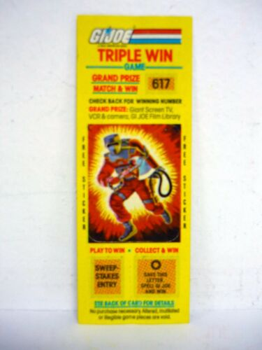 GI JOE TRIPLE WIN GAME Vintage Action Figure Scratch Off w//Sticker BARBECUE 1985
