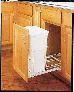35 quart waste pull out container shelf trash can garbage slide durable white ebay. Black Bedroom Furniture Sets. Home Design Ideas