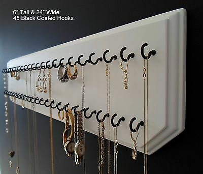 6x24-White 45-Black, Jewelry Organizer Hanging Necklace Holder Display Wall Rack