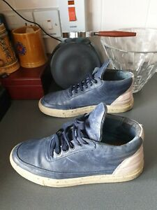 Remplissage-de-pieces-en-Cuir-Baskets-Bleu-Avec-Rose-Detail-UK-7-EU-41
