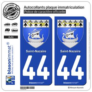 2 Adhésif plaque d/'immatriculation auto44 Saint-Nazaire Armoiries44600