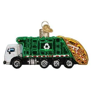 Old-World-Christmas-GARBAGE-TRUCK-46091-N-Glass-Ornament-w-OWC-Box