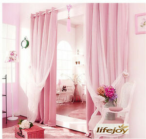Image Is Loading BLOCKOUT EYELET CURTAINS Double Layer Bridal Lace GIRLS
