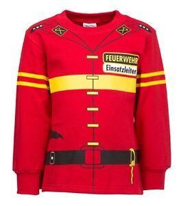 Kinder-Uniform-Kostuem-Sweatshirt-Feuerwehr-rot