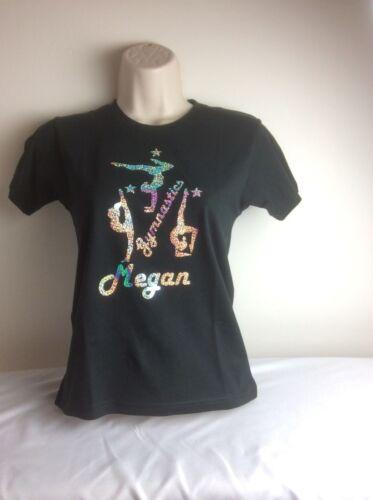 Girls Personalised 3 Gymnastics Black Sparkle GLITTER Shirt /& Gym Bag Set  3-13