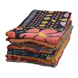 Vintage Throw Kantha Quilt Indian Handmade Bedspread Reversible Cotton Ethnic Cotton Sari Fabric SH-VKQ-74