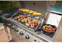 Stainless Steel 5-Burner Propane Gas Grill BBQ Side Burner Grate Barbeque Cart