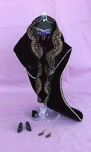 Designer BLACK SEQUIN Strapless VELVET Barbie EVENING ENSEMBLE with CAPE