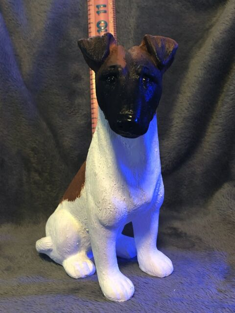 SMOOTH HAIR FOX TERRIER PLASTER DOG STATUE HAND CAST AND ...