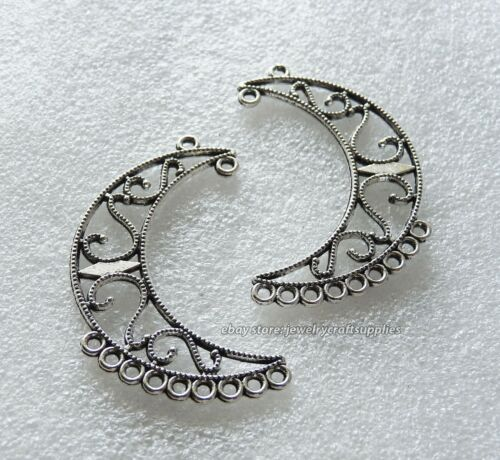 2 Crescent Moon Charm Chandelier Earring Findings 9+1 Hole Connector Pendant