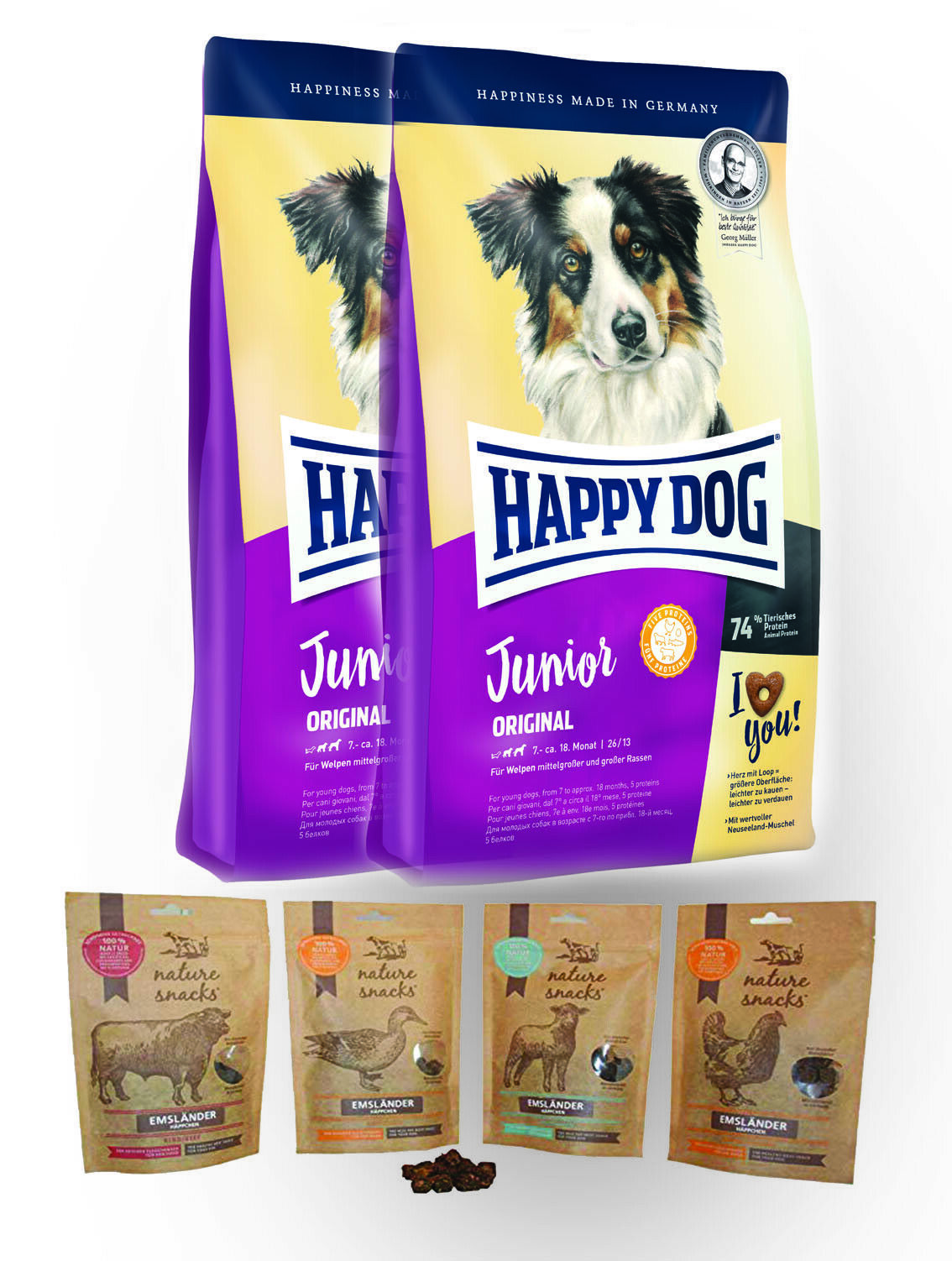 Happy Dog Junior Original 2x10 kg + MULTIPACK M. JEWEILS 150g Emsländer Häppchen
