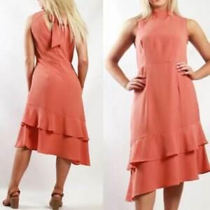 TEABERRY-Dress-Size-8-10-12-14-16-Rust-High-Neck-Asymmetrical-Ruffle-Hem