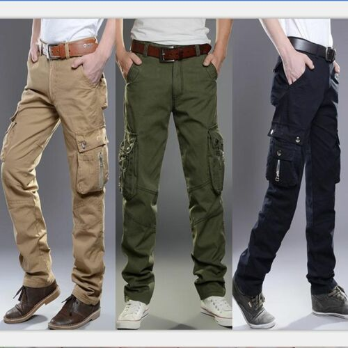 Mens Cotton Casual Cargo Military Long Pants Loose Fit Combat Camo Work Trousers