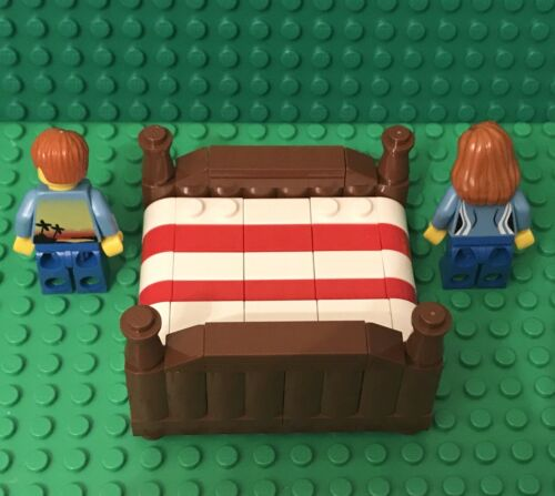 Lego New King Size Bed With Boy And Girl Mini Figure,MOC home Interior Furniture
