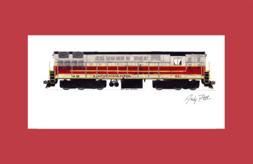 """Lackawanna H-24-66 Trainmaster 11/""""x17/"""" Matted Print Andy Fletcher signed"""