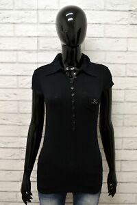 Polo-Maglia-Nera-Donna-Taglia-S-LEE-Maglietta-Shirt-Woman-Cotone-Manica-Corta