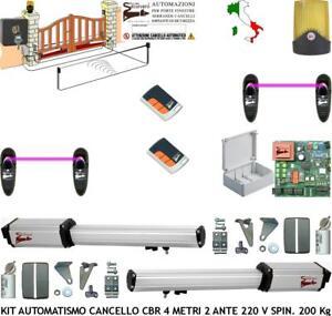 Cancello Elettrico A Due Ante.Cancello Elettrico 4 Mt 2 Ante Kit 2 Motori 220 V Cbr 2 Telec 2