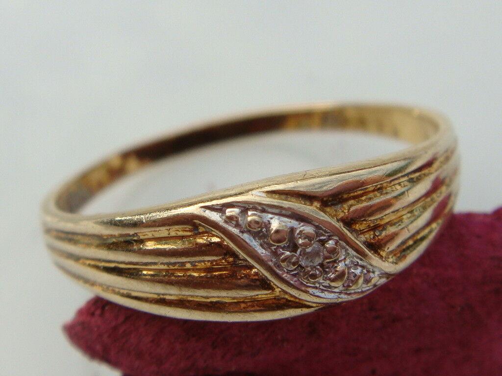 Elegante 333er Oro Anillo Con Brillante Ocupado Joya Other Fine Rings