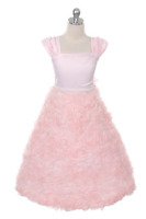 Girls Pink Rosette Dress Size 12 Pageant Wedding Party Graduation Flower