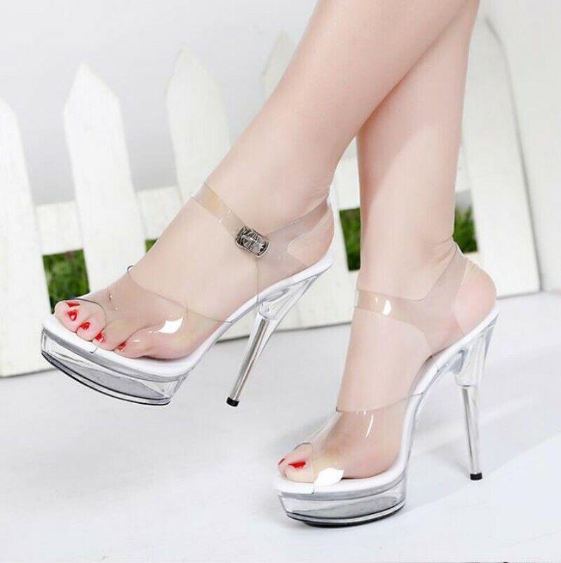 Sexy High Heel Sandal Pumps Clear Glass Slipper PVC Womens Pole Dancing shoes US